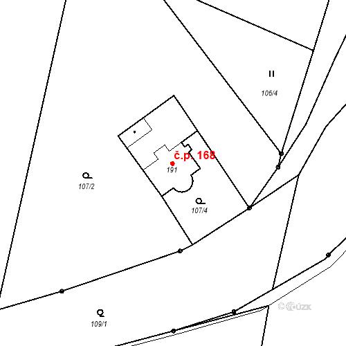 Katastrální mapa Stavební objekt Veselá 168, Mnichovo Hradiště