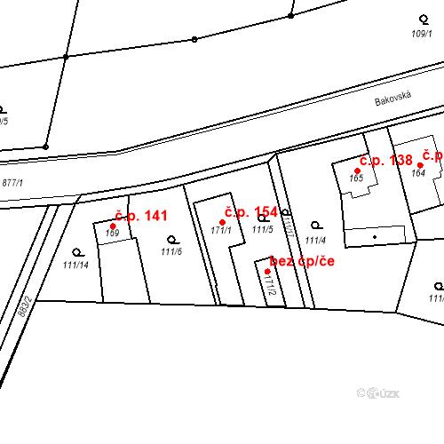 Katastrální mapa Stavební objekt Veselá 154, Mnichovo Hradiště