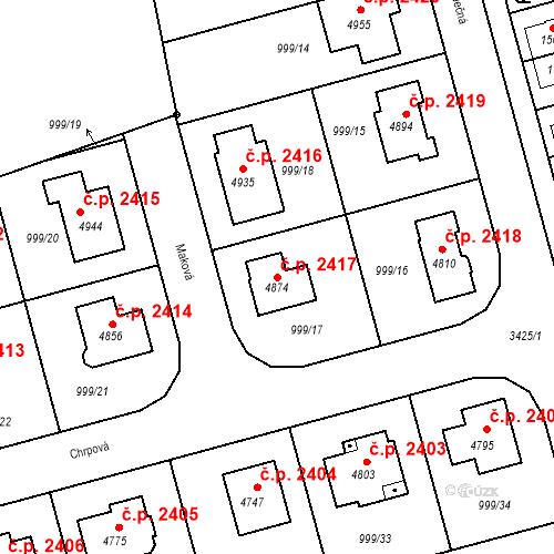 Katastrální mapa Stavební objekt Nymburk 2417, Nymburk