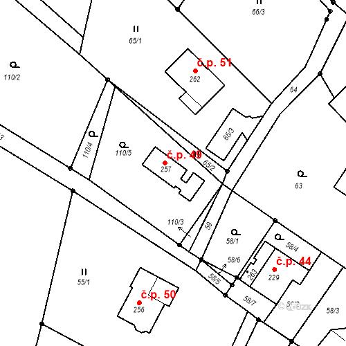 Katastrální mapa Stavební objekt Hrubý Lesnov 49, Cetenov