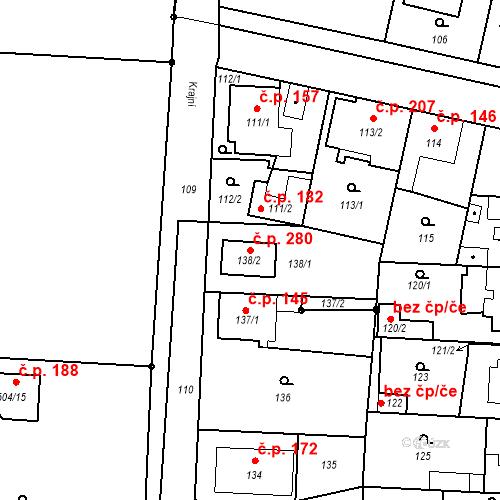 Katastrální mapa Stavební objekt Drahelice 280, Nymburk