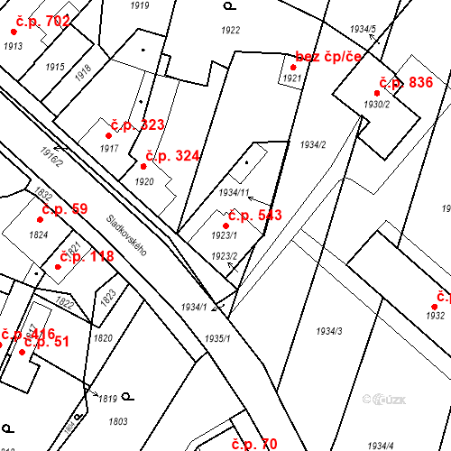 Katastrální mapa Stavební objekt Pečky 543, Pečky