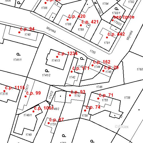 Katastrální mapa Stavební objekt Pečky 171, Pečky
