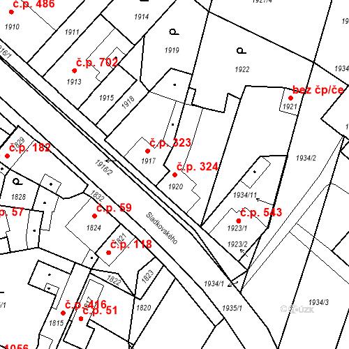 Katastrální mapa Stavební objekt Pečky 324, Pečky