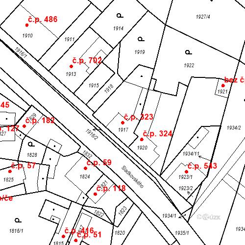 Katastrální mapa Stavební objekt Pečky 323, Pečky