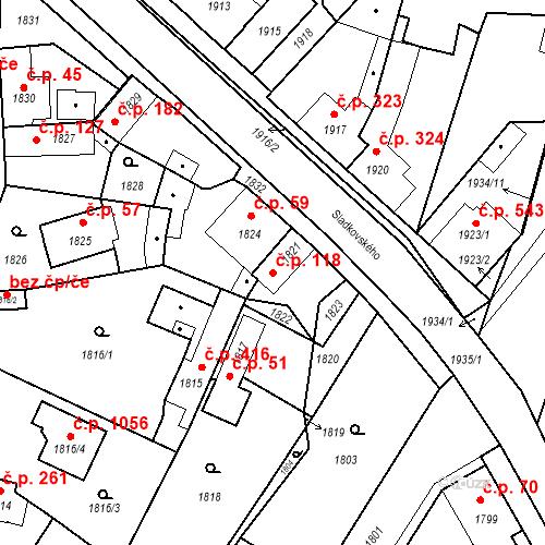 Katastrální mapa Stavební objekt Pečky 118, Pečky