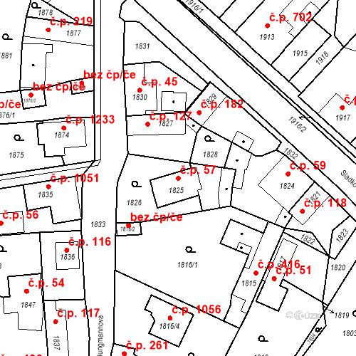 Katastrální mapa Stavební objekt Pečky 57, Pečky