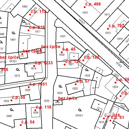 Katastrální mapa Stavební objekt Pečky 127, Pečky
