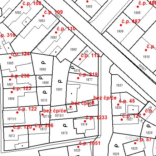 Katastrální mapa Stavební objekt Pečky 219, Pečky