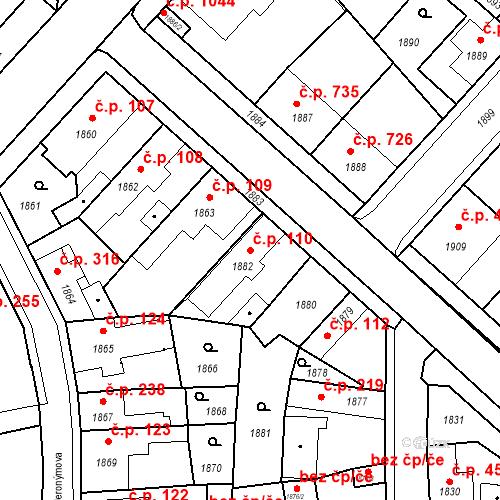 Katastrální mapa Stavební objekt Pečky 110, Pečky