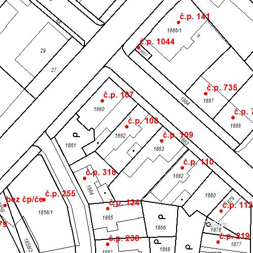 Katastrální mapa Stavební objekt Pečky 108, Pečky
