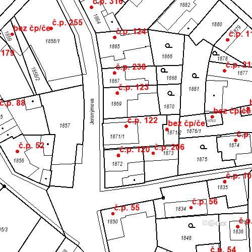 Katastrální mapa Stavební objekt Pečky 122, Pečky