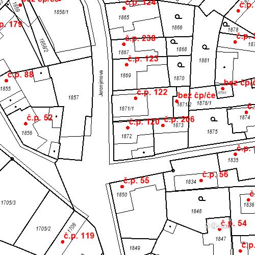Katastrální mapa Stavební objekt Pečky 120, Pečky
