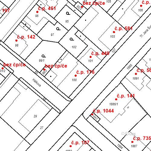 Katastrální mapa Stavební objekt Pečky 176, Pečky
