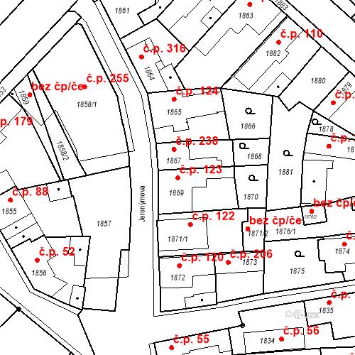 Katastrální mapa Stavební objekt Pečky 123, Pečky