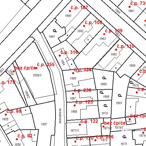 Katastrální mapa Stavební objekt Pečky 124, Pečky