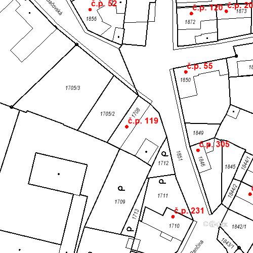 Katastrální mapa Stavební objekt Pečky 119, Pečky