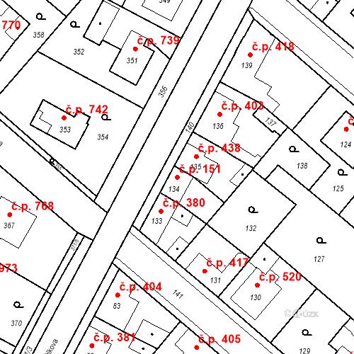 Katastrální mapa Stavební objekt Pečky 151, Pečky