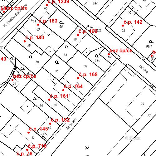Katastrální mapa Stavební objekt Pečky 168, Pečky