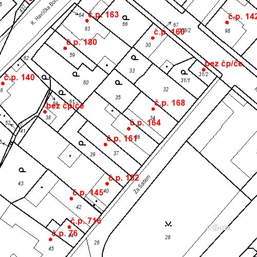 Katastrální mapa Stavební objekt Pečky 164, Pečky