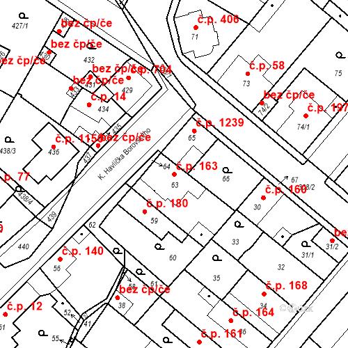 Katastrální mapa Stavební objekt Pečky 163, Pečky
