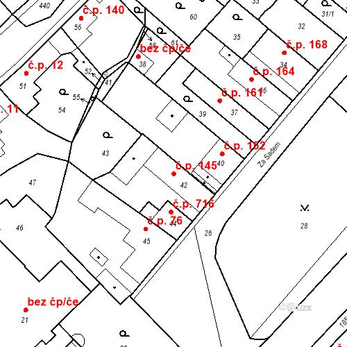 Katastrální mapa Stavební objekt Pečky 145, Pečky