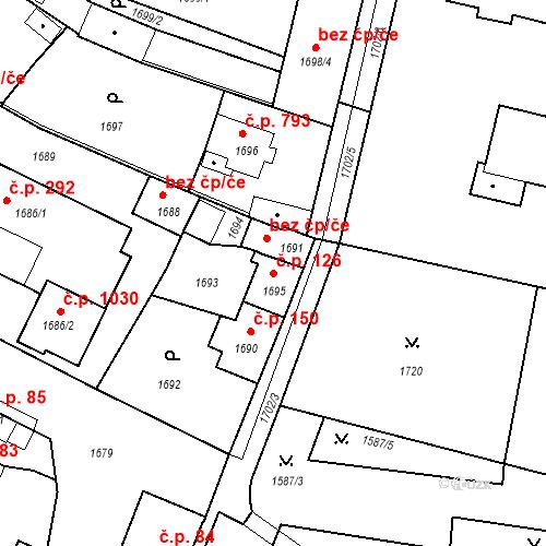 Katastrální mapa Stavební objekt Pečky 126, Pečky