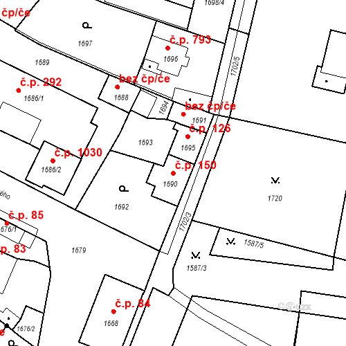 Katastrální mapa Stavební objekt Pečky 150, Pečky