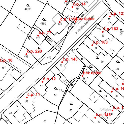 Katastrální mapa Stavební objekt Pečky 140, Pečky