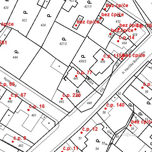 Katastrální mapa Stavební objekt Pečky 77, Pečky