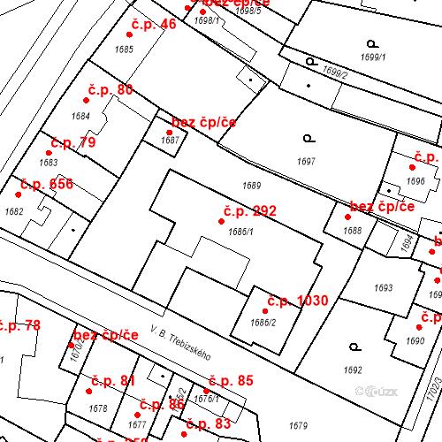 Katastrální mapa Stavební objekt Pečky 292, Pečky
