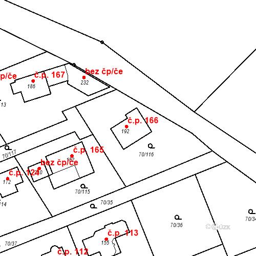 Katastrální mapa Stavební objekt Horní Stakory 166, Kosmonosy