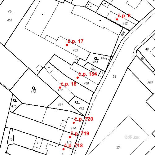 Katastrální mapa Stavební objekt Pečky 154, Pečky