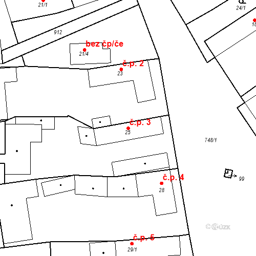 Katastrální mapa Stavební objekt Ptýrov 3, Ptýrov