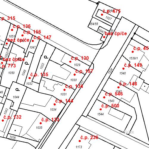 Katastrální mapa Stavební objekt Pečky 157, Pečky