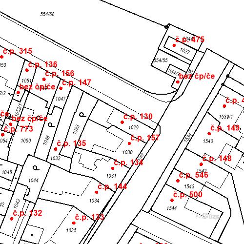 Katastrální mapa Stavební objekt Pečky 130, Pečky
