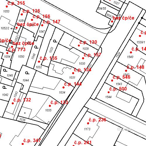 Katastrální mapa Stavební objekt Pečky 134, Pečky