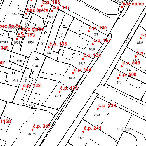 Katastrální mapa Stavební objekt Pečky 144, Pečky