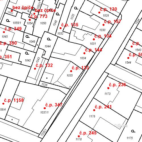 Katastrální mapa Stavební objekt Pečky 133, Pečky