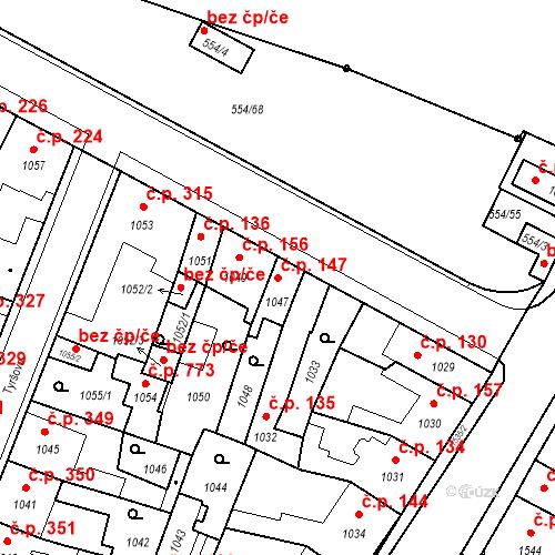 Katastrální mapa Stavební objekt Pečky 147, Pečky