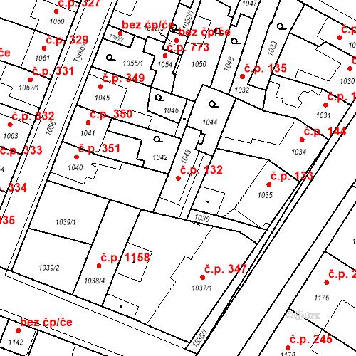 Katastrální mapa Stavební objekt Pečky 132, Pečky