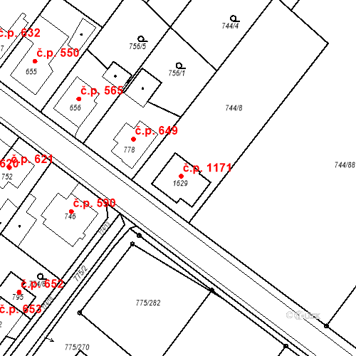 Katastrální mapa Stavební objekt Bakov nad Jizerou 1171, Bakov nad Jizerou