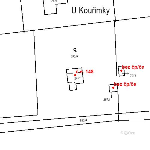 Katastrální mapa Stavební objekt Nymburk 148, Nymburk