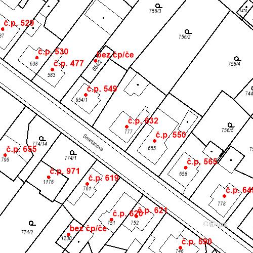 Katastrální mapa Stavební objekt Bakov nad Jizerou 632, Bakov nad Jizerou