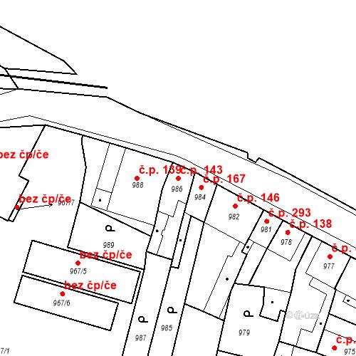 Katastrální mapa Stavební objekt Pečky 143, Pečky