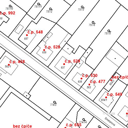Katastrální mapa Stavební objekt Bakov nad Jizerou 529, Bakov nad Jizerou