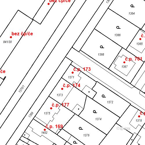Katastrální mapa Stavební objekt Pečky 173, Pečky