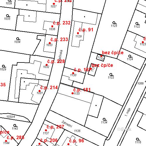 Katastrální mapa Stavební objekt Dobrovice 187, Dobrovice
