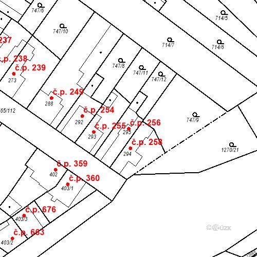 Katastrální mapa Stavební objekt Bakov nad Jizerou 256, Bakov nad Jizerou