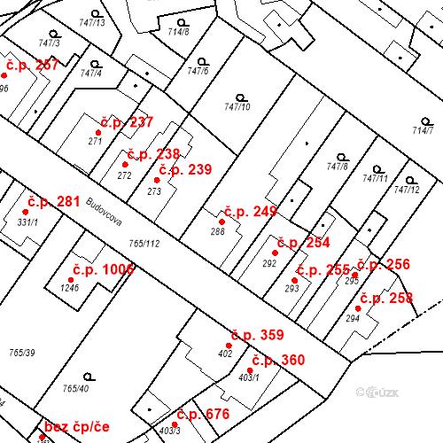 Katastrální mapa Stavební objekt Bakov nad Jizerou 249, Bakov nad Jizerou